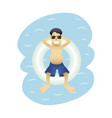 summer banner man on sea isolated vector image
