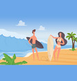 surfer couple people with surfboards on summer vector image vector image