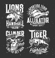 tshirt prints with goat alligator lion and tiger vector image