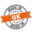uk orange grunge ribbon stamp on white vector image vector image
