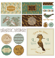 Vintage Bird Party Set - for Party Decoration vector image vector image