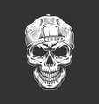vintage skull in hipster cap vector image vector image