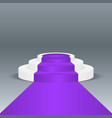 violet carpet podium on gray background vector image
