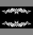 white filigree decoration set on black background vector image vector image