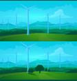 wind turbines green energy farm field background vector image