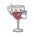 with phone wine character cartoon style vector image