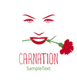 womans face with a carnation in his mouth logo vector image
