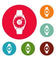 wristwatch businessman icons circle set vector image