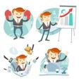Office man hipster set showing a presentation vector image