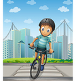 A boy biking in the city vector image vector image