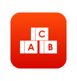 alphabet cubes with letters abc icon digital red vector image vector image