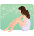 Beautiful young woman in towel sitting on the floo vector image vector image