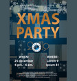 blue christmas 2019 party invitation card for your vector image