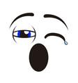 borderless tired emoticon vector image