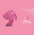 breast cancer care banner of cutout woman face vector image