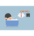 Businessman taking a bath and relaxing in bathtub vector image