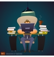 Businessman works hard at an office very late vector image