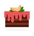 chocolate cake with orange cream flat isolated vector image vector image
