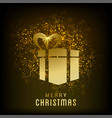 christmas card with gift box glitters vector image vector image