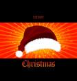 christmas star burst panel and 3d santa hat vector image vector image