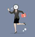 Clock head business woman running in suit vector image