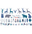 collection isolated merry christmas vector image