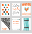 Collection of hand drawn romantic cards and vector image vector image