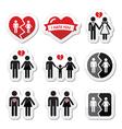 Couple breakup divorce broken family icon vector image vector image