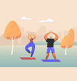 couple healthy people doing yoga asana vector image vector image