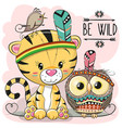 cute cartoon tribal tiger and owl vector image vector image