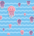 cute octopus and jellyfish background vector image vector image