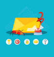 envelope mail with set icons cyber security vector image vector image