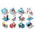 family education isometric set vector image vector image