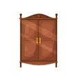 flat icon of vintage wooden cabinet with vector image