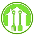 green icon with gardening tools vector image vector image