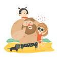 happy family at the beach vector image vector image
