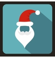Hat and beard with mustache of Santa Claus icon vector image vector image