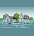 heavy rain drops and city flood in modern village vector image vector image