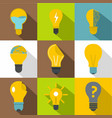 idea ligh bulb icons set flat style vector image vector image