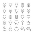 lamp and light bulbs line icons collection vector image vector image