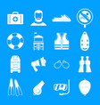 lifeguard save icons set simple style vector image