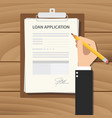 loan application form with man signing a paper vector image vector image