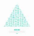 medicine concept in triangle with thin line icons vector image vector image