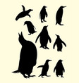penguins silhouette 01 vector image vector image