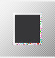 photo frame with multi-colored confetti vector image vector image