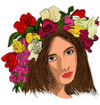 Pop art beautiful woman in flower wreath