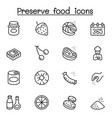 preserved food icons set in thin line style vector image vector image