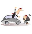 road accident driver and pedestrian vector image