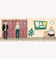 school corridor with lockers for books vector image vector image