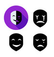 set emotion mask in silhouette style vector image vector image